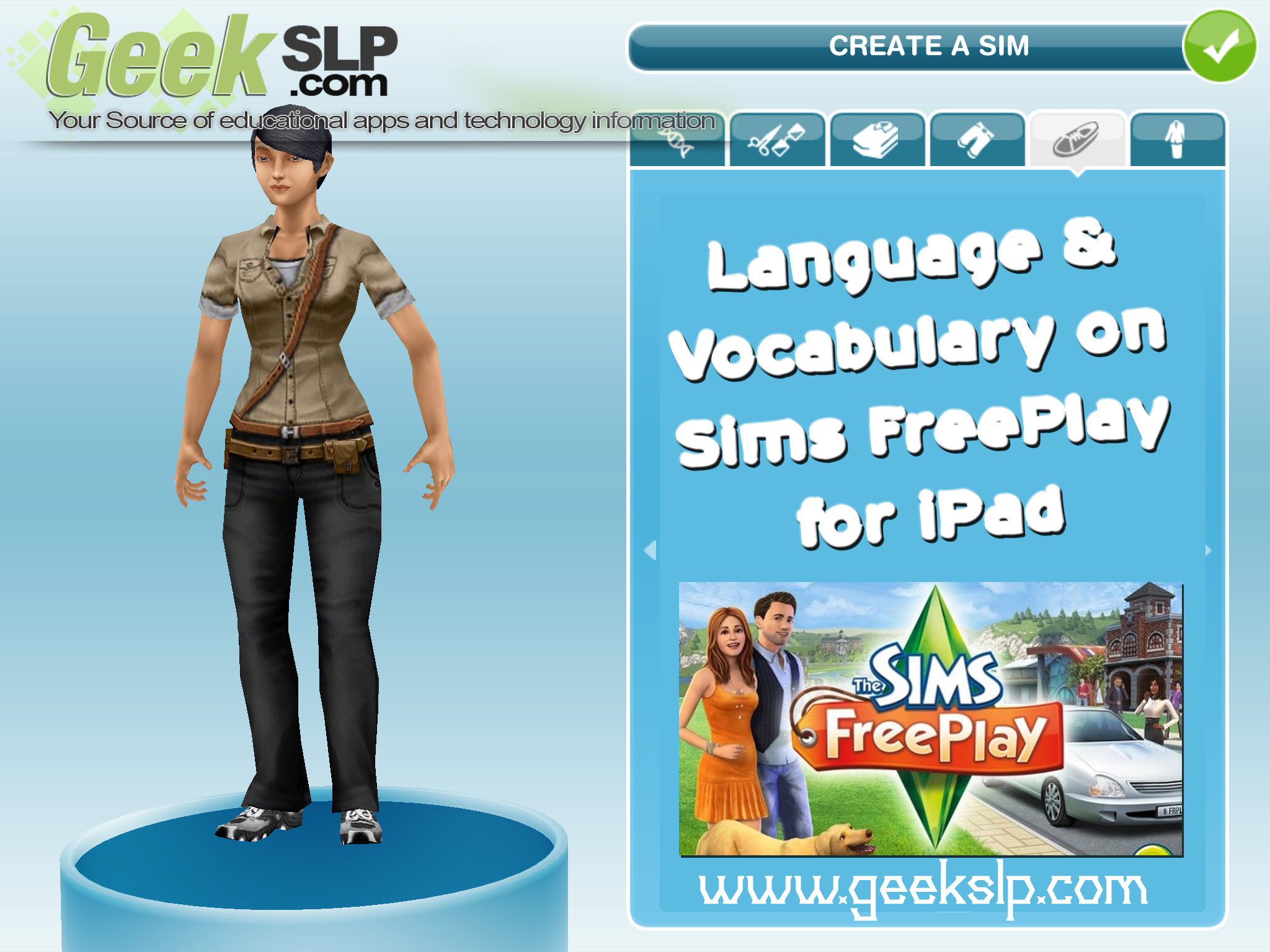 Language & Vocabulary on Sims FreePlay for iPad